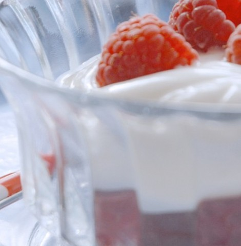Creamy goat cheese with raspberries